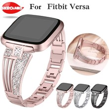 New 2018watch band   For fitbit versa smart band strap Stainless Steel Bracelet Wearable Belt with Rhinestone Wristbands Replace