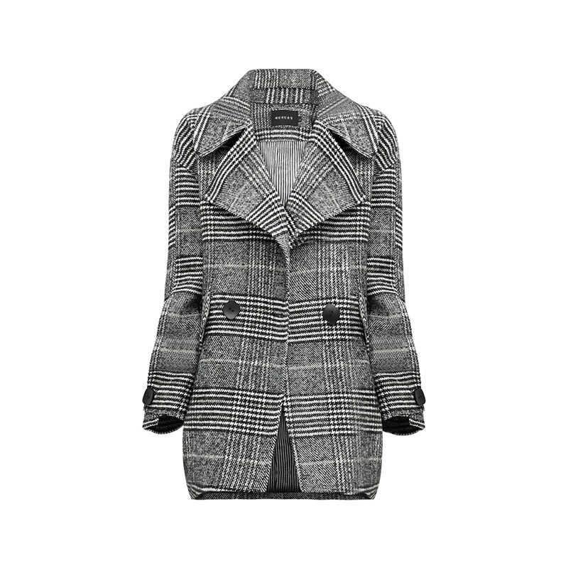 Mùa xuân áo khoác nữ 2019 mùa thu mới của Hàn Quốc phiên bản phổ biến ngàn bird kẻ sọc Trung Bình ngắn đoạn lỏng lớn kích thước áo len áo