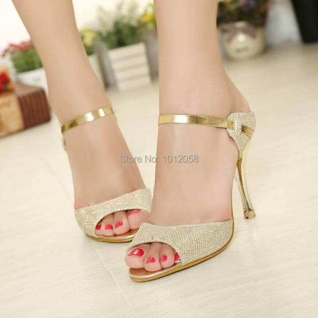 151f4e5c2 Ankle Strap Woman White Gold Prom Wedding Bridal Shoes With Rhinestones High  Thin Heels Gladiator Pumps Women Peep Toe Sandals