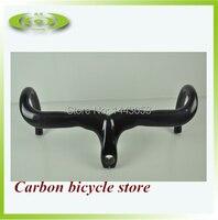Fibra de carbono bicicleta estrada ciclismo guiador peças da bicicleta de carbono gota lidar com barras e haste integrative 400/420/440mm