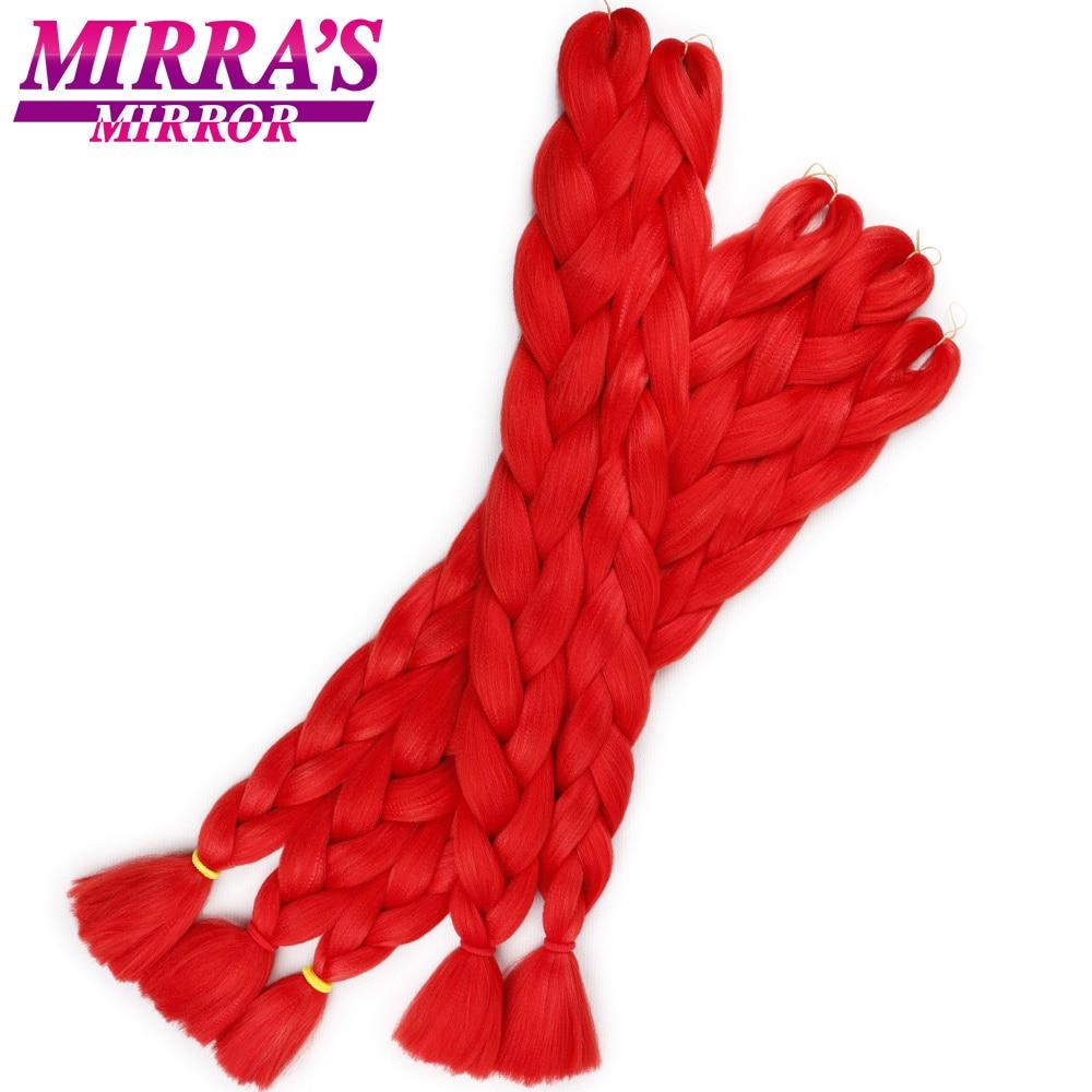 Mirra's Mirror Blue Jumbo Braid Hair Blonde Synthetic Hair Braids Red Crochet Braiding Hair Extensions 82inches 165g/Pack(China)