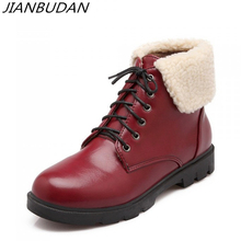JIANBUDAN pu leather winter casual women's snow boots High quality Plush fur warm ankle boots Large size female winter shoes 43 buggy boom коляска для кукол buggy boom коричнево розовая в горох