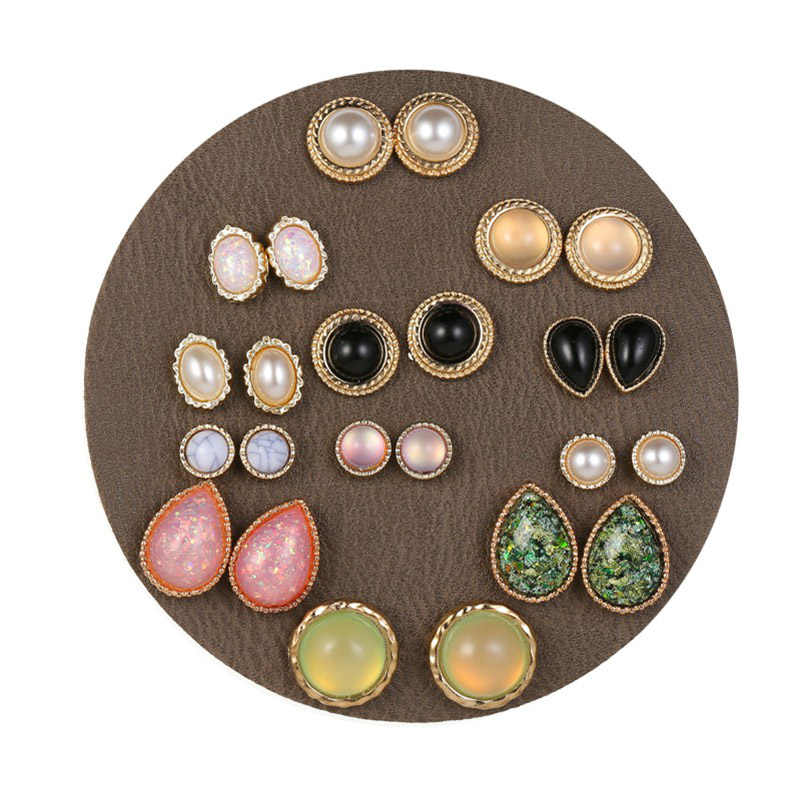 YANG&RH 12Pairs/lot Vintage Punk Stud Earrings For Women Statement Round Water-Drop Oval Foil Jelly Stone Pearl Earring Gifts