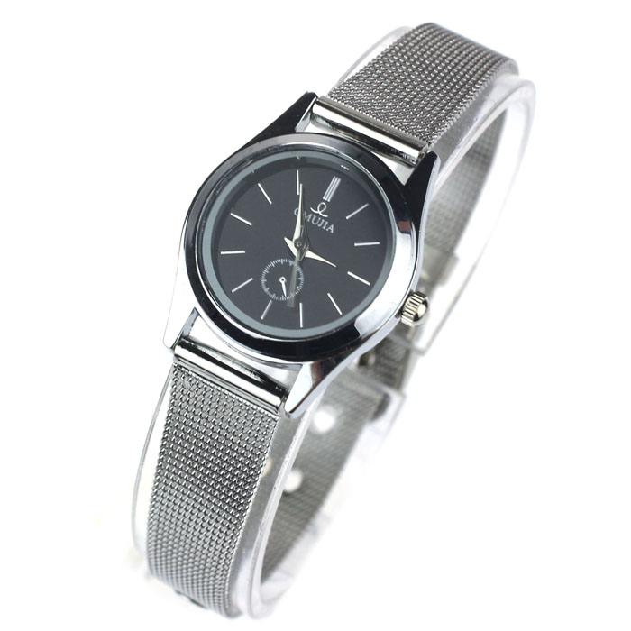 Black Dial Stylish Couple Lover Stainless Steel Quartz Wrist Watch Women relojes hombre Vintage Relogio Feminino Masculino Erkek stylish 8 led blue light digit stainless steel bracelet wrist watch black 1 cr2016