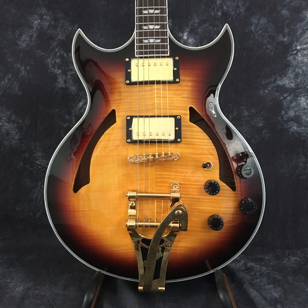Free Ship Sunset Glow Tiger Flame Classical Johnny A Signature Hollow Body ES Electric Guitar China For Sale