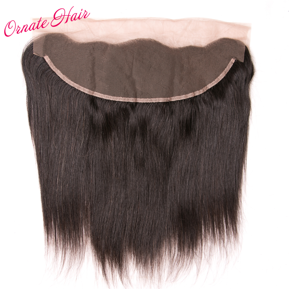 Ornate Brazilian Straight Closure 13*4 Ear To Ear Lace Frontal Closure 10-22 Inch Human Hair Free Part Natural Color