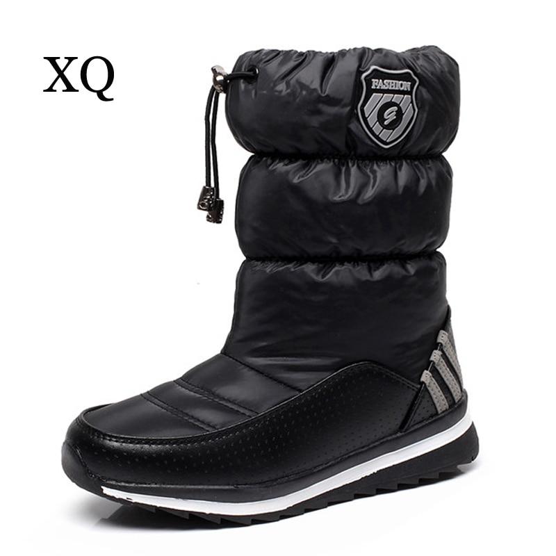 Women snow boots warm plush winter shoes women platform shoes waterproof non-slip mid-calf boots size 36-40 цена и фото