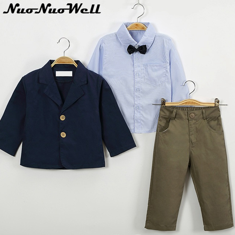 NNW New Coat+Shirt+Pants 3pcs 2017 Spring&Autumn Little Boy's Suits 2-10year Children Handsome Boys Fashion Sets Kids Clothing