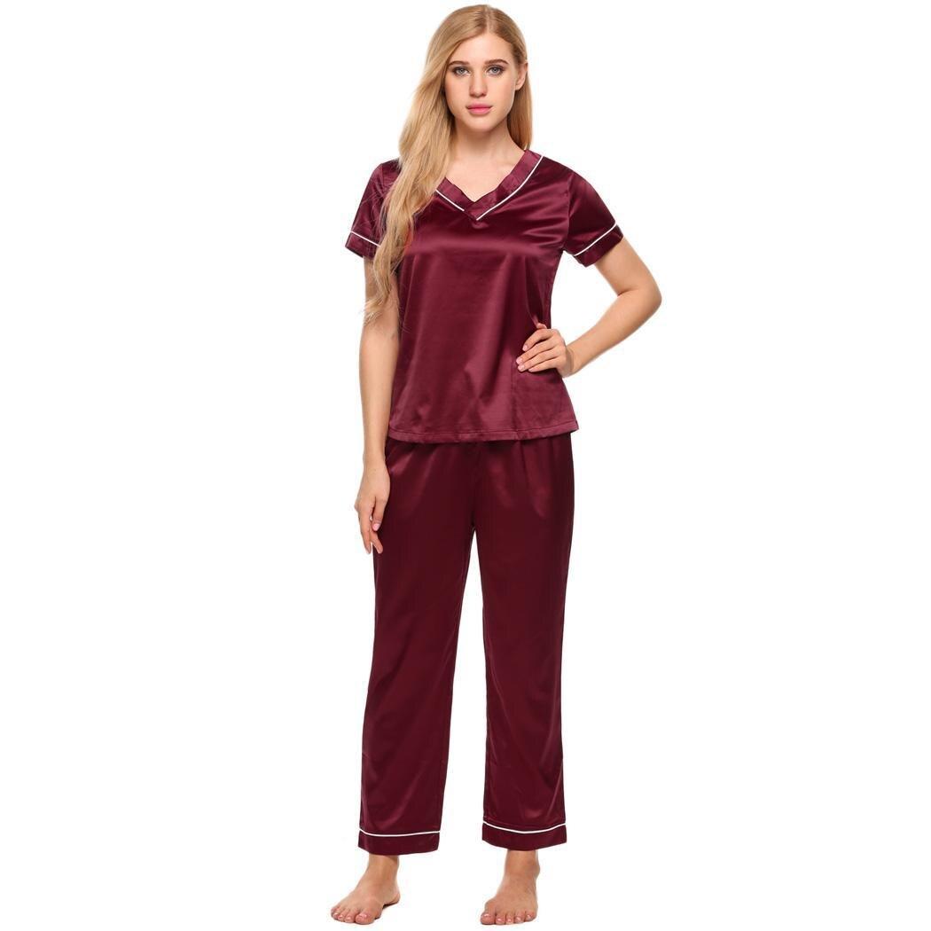 Ekouaer Lounge Satin   Pajamas     Set   V-Neck Short Sleeve Top and Long Pants Women Sleepwear