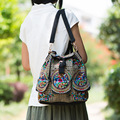 New Yunnan national retro embroidery backpack floral embroidered shoulder bag lady canvas backpack