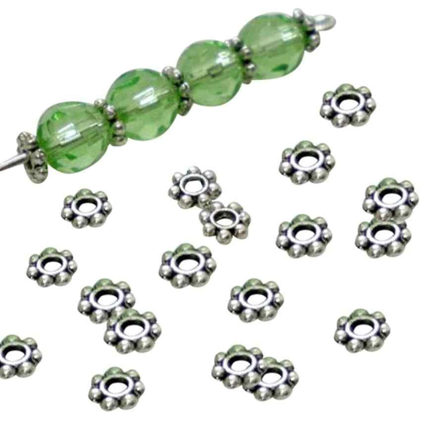 200 pçs tibetano prata daisy espaçador pulseira de metal contas 4mm jóias fazendo fantástico acessórios jóias pulseira componente