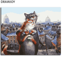 New Home Picture Painting By Numbers Of Cats Frameless DIY Canvas Oil Painitng Frameless Home Decor