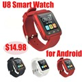 CHINA RED Wholesales bluetooth smart watch u8 smart watch for android Whatsap Facebook Sync Pedometer U8 Smart Watch
