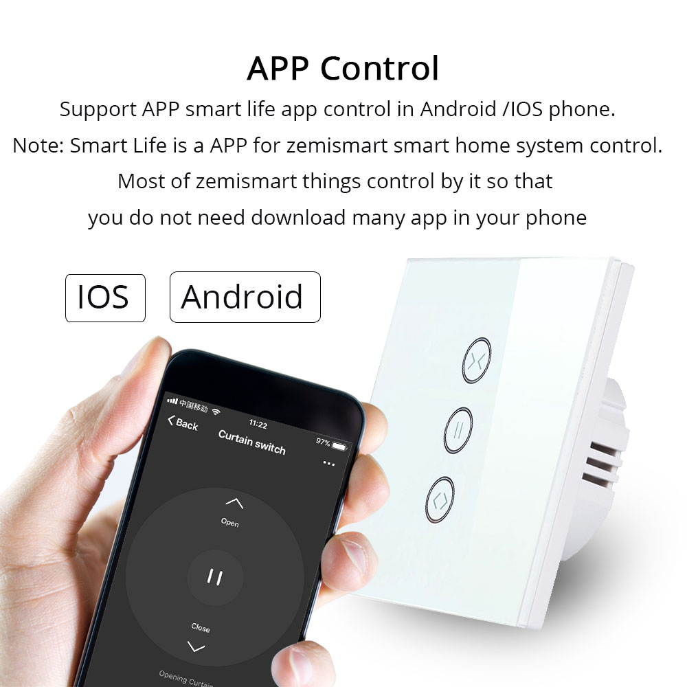 EU Curtain Switch Blind Switches For Standard Roller Motor Slide Engine Google Home Assistant Alexa Echo Wifi APP Control(2)