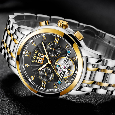 LIGE Mens Watches Top Brand Luxury Automatic Mechanical Watch Men Full Steel Business Waterproof Sport Watches Relogio Masculino Lahore