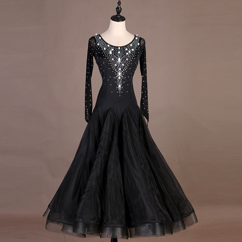 Ballroom Dance Dresses Women Pearl Black Dancing Dress Evening Party Waltz Dress Group Performance Ballroom Dance Dress VDB535