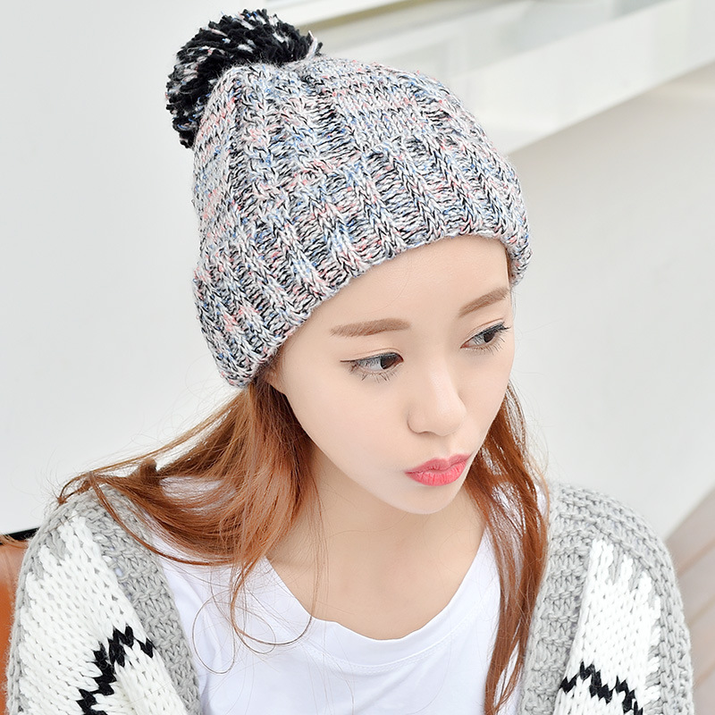 2016 Women's Hats Lovely Fashion Thickening Velvet Knitted Hat Winter Warm Skullies Beauty Ladies Beanies Bonnet Female Cap