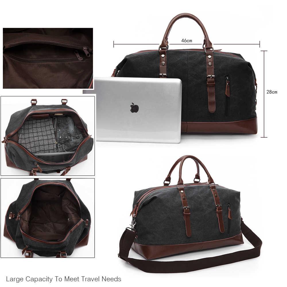 Markroyal Mens Duffel Canvas Bags Overnight Travel Large Capacity Luggage Wild Bag Leisure Handbags Cut Proof Shoulder