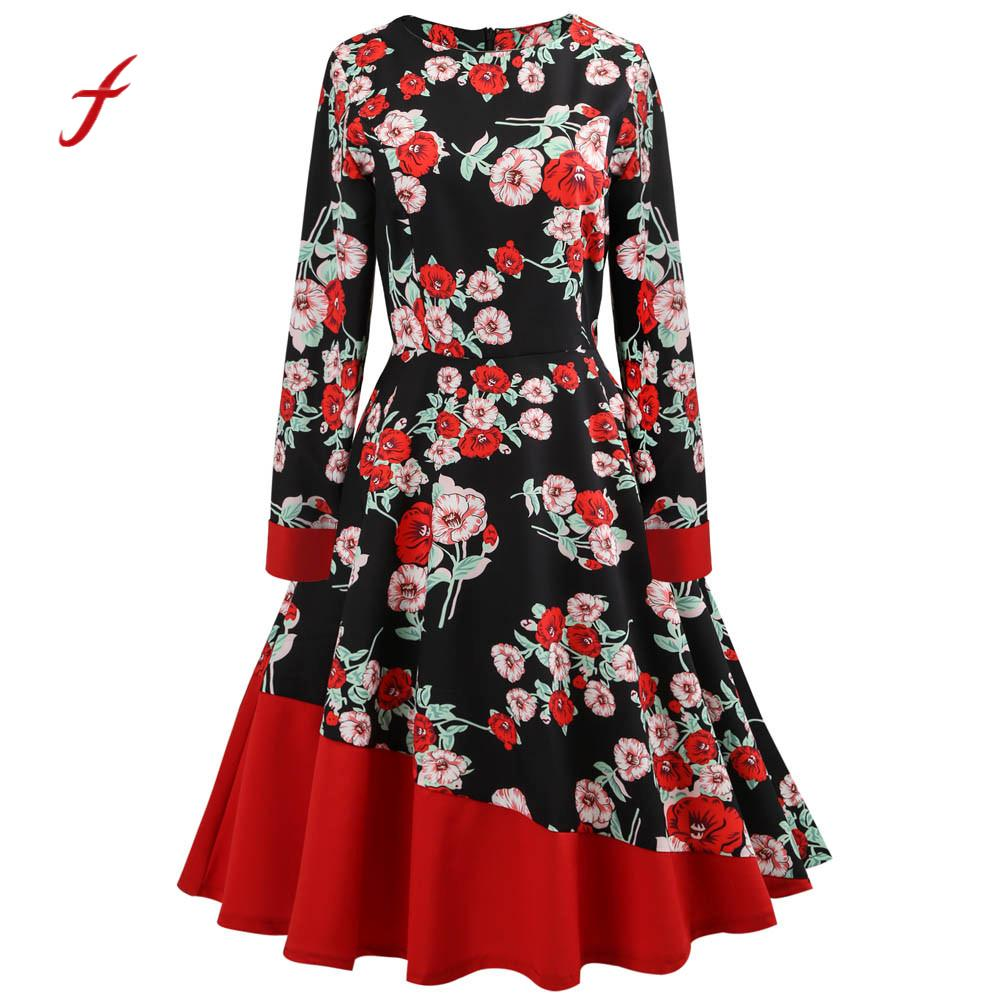 Feitong Women Vintage Dress Floral Printed Bodycon 1950s style elegant Long Sleeve Casual Party Prom Swing