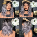 8a Fashion middle part two tone #1b/grey full lace human hair wigs & glueless lace front wigs ombre human hair wigs