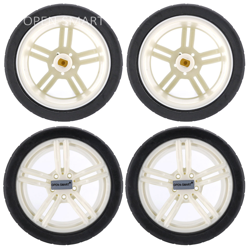 4PCS 65mm Smart Car Model Wearable Rubber Wheel For TT Motor For Arduino Smart Car - Black + White