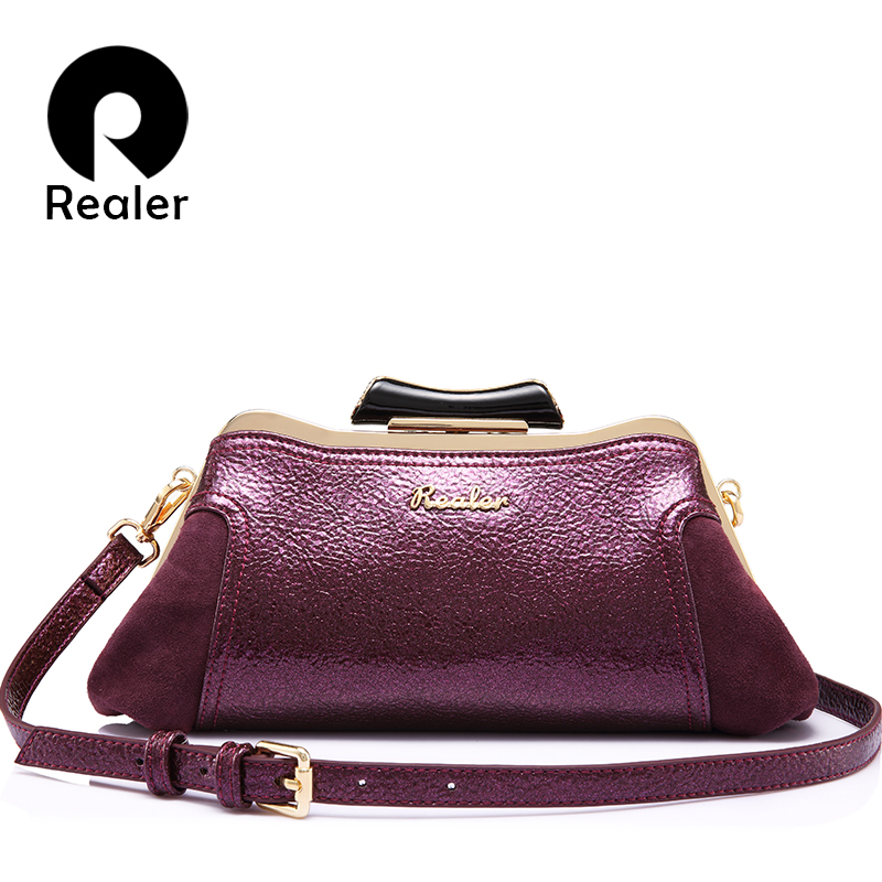REALER women messenger bags small retro shoulder crossbody bag mini PU leather ladies shape bag female evening clutch student