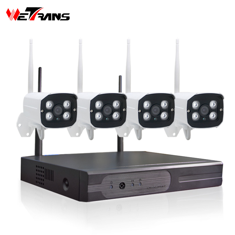 Wetrans surveillance kit cctv camera set nvr wifi 4ch 1080P Outdoor P2P Motion Alarm Home security camera system wireless