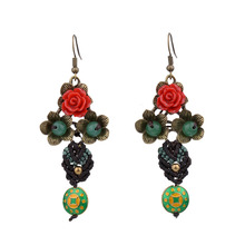 MYTHIC AGE Bohemia Ethnic Flower Colorful Tassel Drop Dangle Vintage Earrings Jewelry For Women mythic age gold color ethnic chinese element cloisonne enamel leaves dangle earrings wholesale jewelry for women girls new