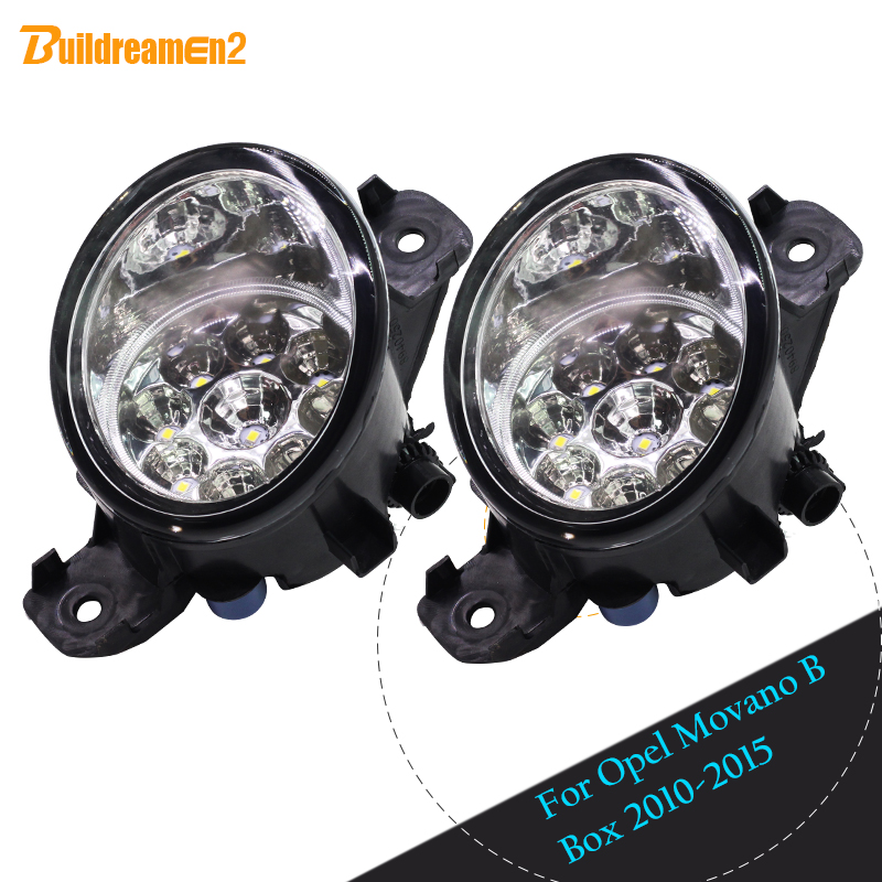 Buildreamen2 For Opel Movano B Box 2010-2015 1 Pair H8 H11 Car LED Light Fog Light Blue White Yellow Daytime Running Light DRL for opel astra h gtc 2005 15 h11 wiring harness sockets wire connector switch 2 fog lights drl front bumper 5d lens led lamp