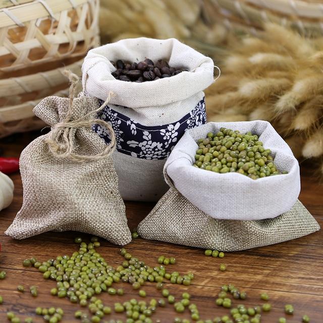 Nowa bawełniana tkanina lniana torba prezentowa samoblokujące torby ręcznie robione torebki fotografia rekwizyty do torebek ziarna ziarna kawy