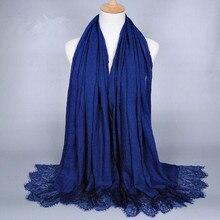 Кружево хлопок вышитые цветок простой хиджаб сплошной цвет шарф шаль дамы Головы Обертывания Длинные шарфы