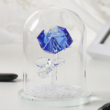 """H&D 4.7"""" Crystal Enchanted Rose Blue Rose Flower Figurine in a Glass Dome with Gift Box Gifts for Her,Home Wedding Decor"""