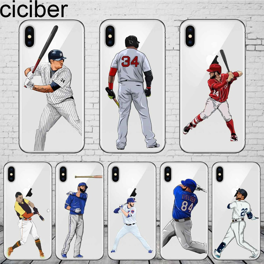buy online f4b93 d27ef ciciber MLB Baseball Players David Ortiz Sport Stars Phone Case For iphone  X XR XS Max 8 7 6S 6 PLUS 5S Soft Silicone TPU Cover