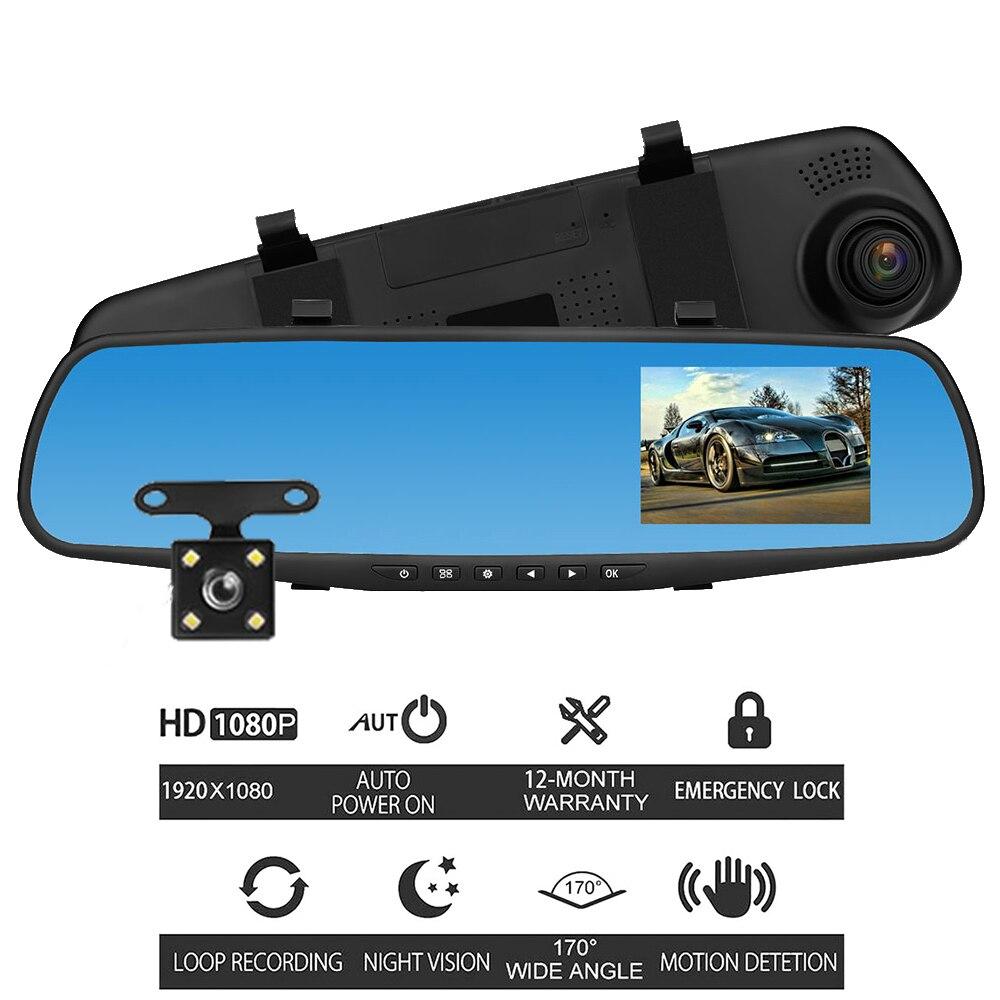 4 Inch 1080P Car DVR Dash Cam Camera Auto Car Video Recorder Mirror Dual Lens Vehicle amera with Rear View Dashcam