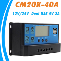 PWM Solar Charger Controller 40A 12V 24V Dual USB 5V 2A Output Solar Panel Regulator LCD for Lead Acid Batteries OPEN AGM GEL