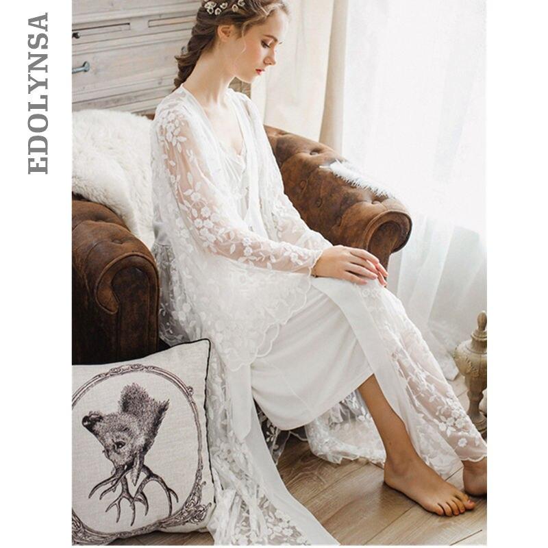 ff82b6a76d Sexy Robe Set Two Pieces Spaghetti Strap Deep V Neck White Cotton Sleepwear  Lace Bathrobe Set
