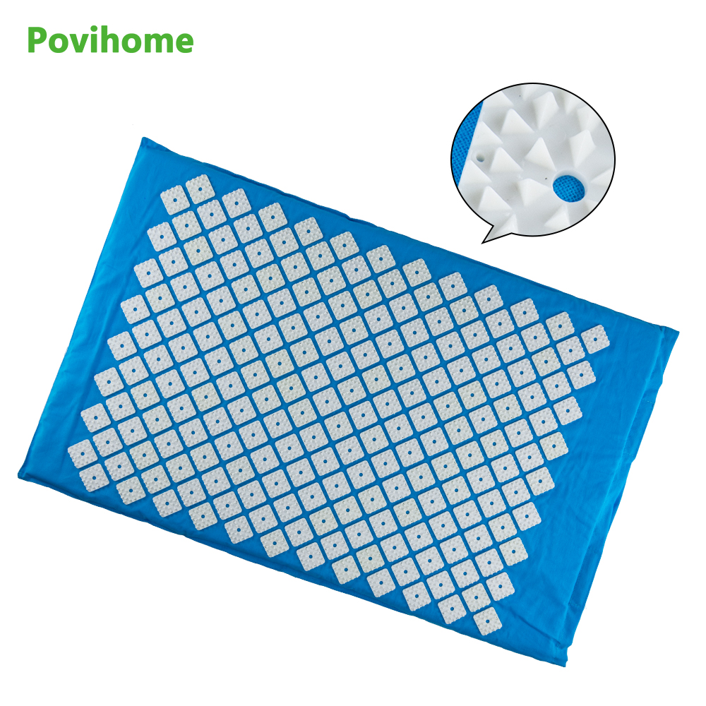 Povihome Myofascial Trigger Point Body Muscle Back Stress Relief  Acupressure Mat Massage Cushion Body Relaxation Blue C1188 massager ergonomic design body self back hook massage stick muscle deep pressure original point body relaxation hot new
