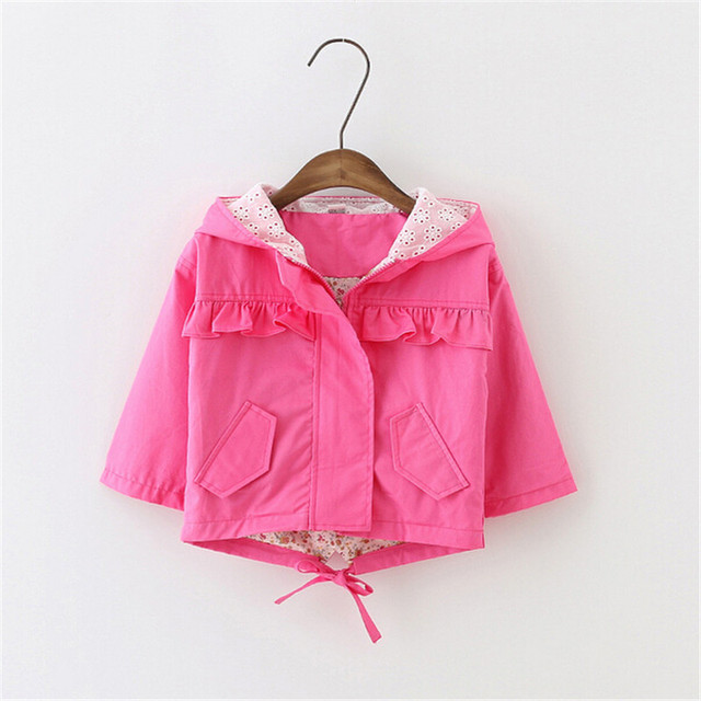 Beautiful fashion style Autumn Girls Coats Solid color Cute Hooded Children  Outerwear coat