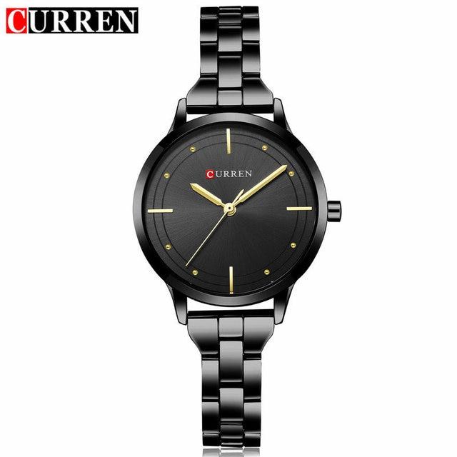 Curren Brand Luxury Black Stainless Steel Bracelet Style Women Quartz Watch Fash