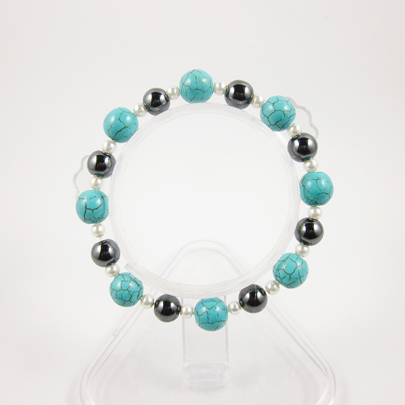 Simulated Pearl Coated Simulated Hematite Magnetic Therapy Anklet
