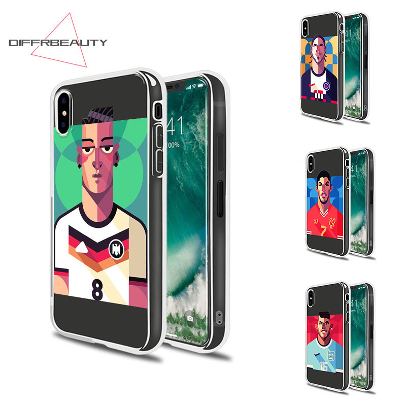 DIFFRBEAUTY Cartoon Soccer Star Clothes Soft Mobile Phone Case for iPhone X 7 8 6s plus 5 SE Football Man Cover Capa Para Case