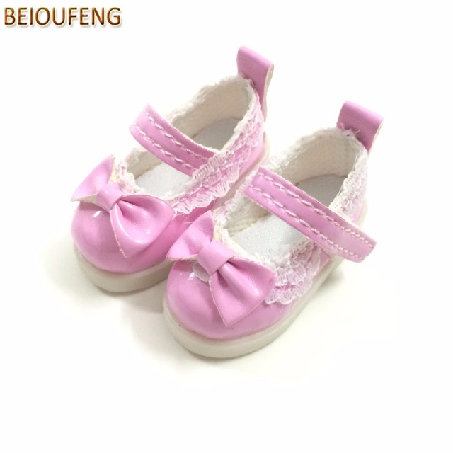 BEIOUFENG Butterfly Design Bow Tie Doll Shoes for BJD Doll,PU Leather 5CM Sneakers for Dolls,Textile Doll Boots 1/6 BJD Footwear