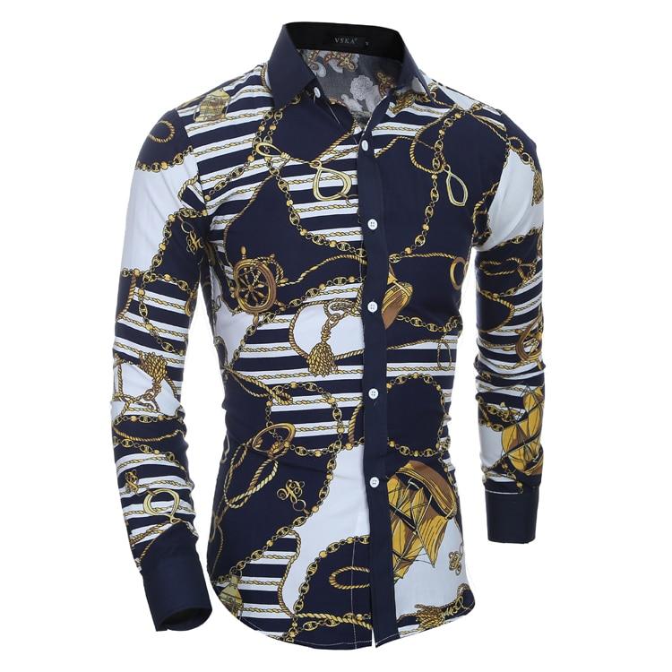 Men Long Sleeve Printed Casual Slim Fit Fashion Shirts Masculina Chemise