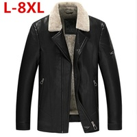 2017 New Plus Size 8XL Winter Mens Genuine Leather Jacket Brand Clothing Sheepskin Coat Rex Rabbit