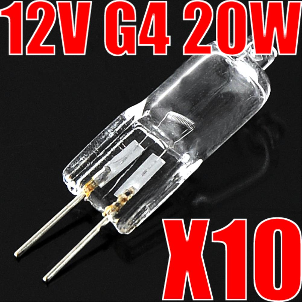 10 PCS Halogen G4 AC12V 20W Lamp JC Type G4 Halogen Light Bulbs G4 Base Clear Halogen Inserted Beads Crystal Lamp High Quality
