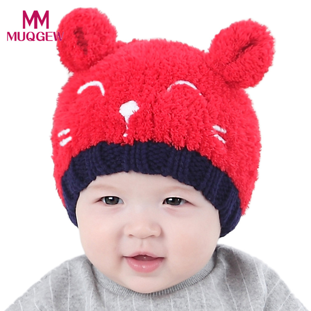8040ca45723 Baby newborn hat winter cartoon cat Toddler Kids Boy Girl Knitted Lovely  Soft caps Red Yellow Pink Beige bonnet topi bayi Tags
