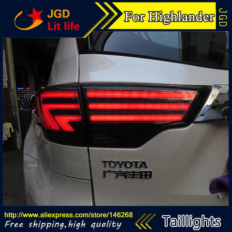Car Styling tail lights for Toyota Highlander 2015 2016 LED Tail Lamp rear trunk lamp cover drl+signal+brake+reverse ...