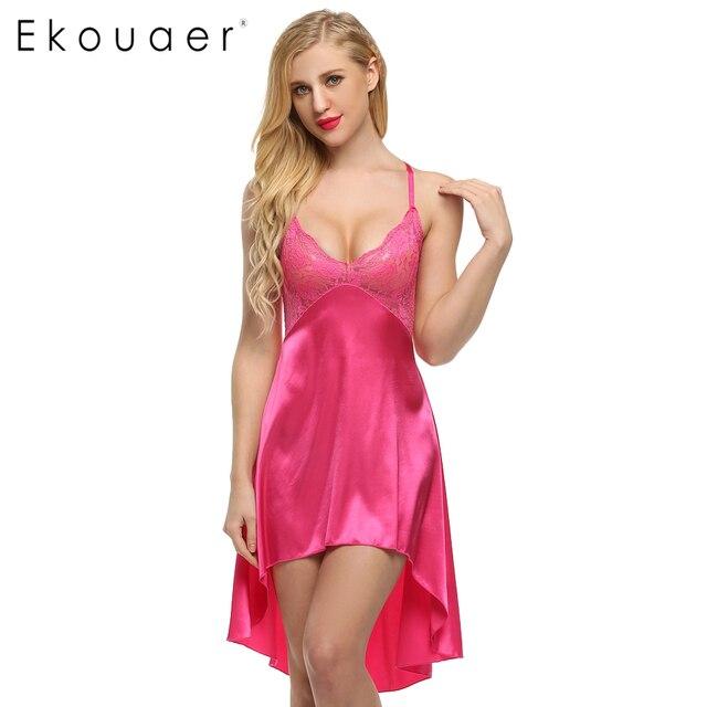 ffd7b3d5b8c7 Ekouaer Senhoras Sexy Vestido De Noite de Cetim Rendas Mulheres Sleepwear  Sem Mangas Camisolas Com Decote