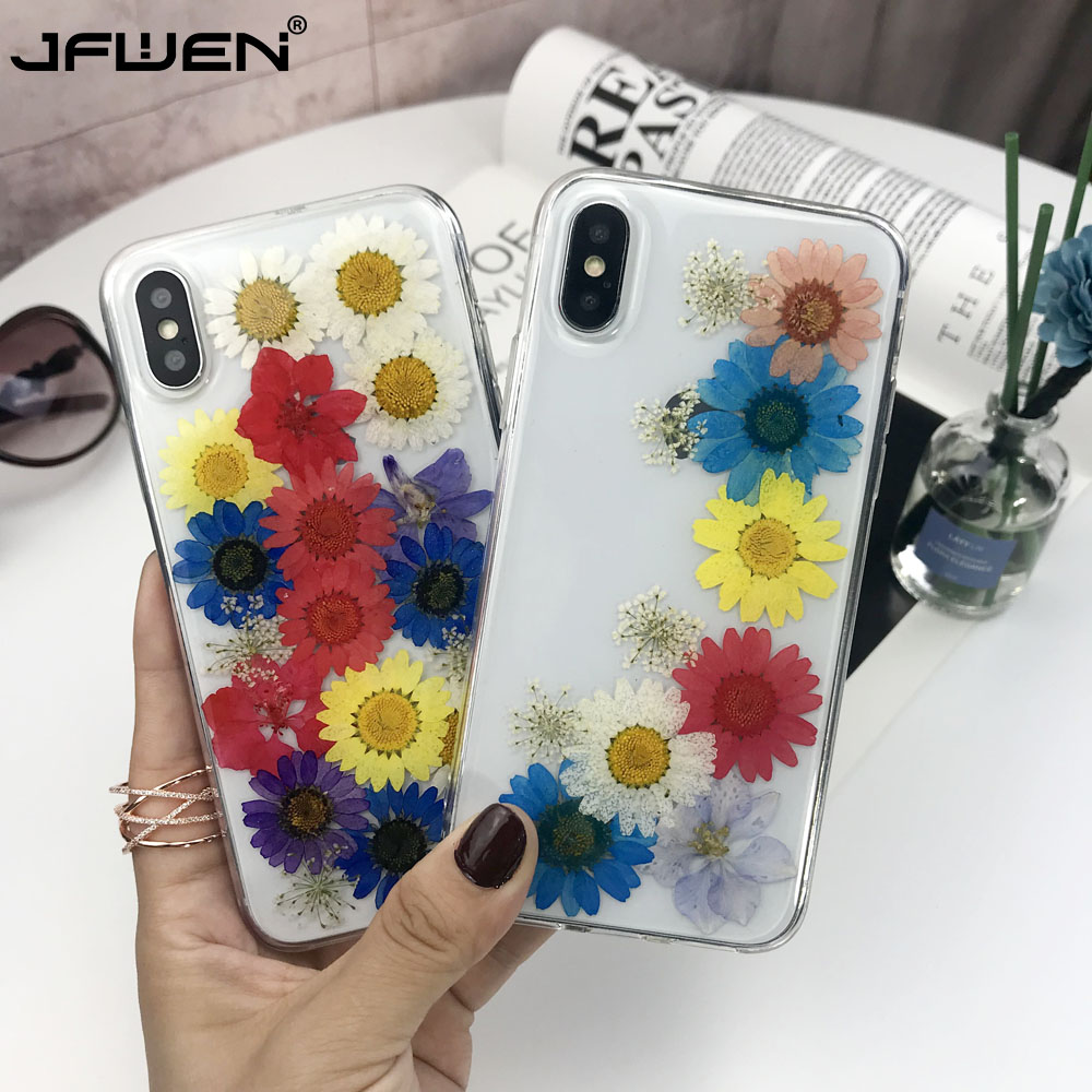 Real Dried Colorful Flowers Soft TPU Phone Case For iPhone XS Max XR X 6 6S 7 8 Plus Handmade Clear Transparent Back Cover Cases