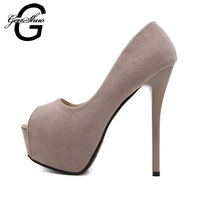 Sexy Heels Women Shoes 14CM Flock New Extreme High Heels Pumps Black Apricot Peep Toe Thin Heel Platform Party Shoes Size 34-39
